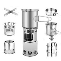 Protable 304 Stainless Steel Camping Cookware Set with Wood Stove Hiking Tool