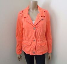 Hollister Womens Neon Coral Twill Button Up Jacket Size Medium Sweater