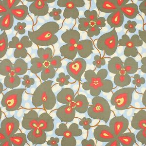 Amy Butler Lotus Morning Glory in Linen Fabric - Floral Fabric - Red White Blue