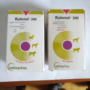 2 X Vetoquinol Rubenal 300 renal kidney supplement dogs >18lbs- 120 tabs