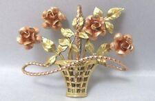 KREMENTZ YELLOW & ROSE GOLD FILLED BASKET OF FLOWERS VERTICAL PIN BROOCH **