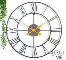Garden Wall Clock Big Roman Skeleton Numerals Large Open Face White Gift 60cm