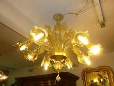 Splendido Lampadario Murano a 8 Luci in CRISTALLO e ORO soffiato Italy Glass