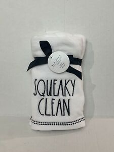 """Rae Dunn 2 Piece Hand Towels Set SQUEAKY CLEAN White Black 16"""" x 30"""" New"""