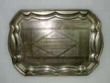 Vintage Old Collectible Hand Carved Brass And Nickel Plated Beautiful Tray India