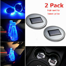2Pack Solar Cup Pad Car Accessories LED Light Cover Interior Decoration Lights