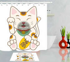Fortune Cat Waterproof Bathroom Polyester Shower Curtain Liner Water Resistant