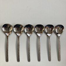 """6 Vintage Viners Studio Stainless Steel Fruit Spoons - 5.5"""" - 1960s"""