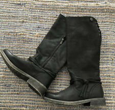 Size 7.5 New Roxy below the knee black boots tie up back -  Adjustable Backings