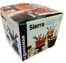 Swissmar Sierra, Red 11 Piece Cast Iron Meat Cheese Fondue Set w/ Splatter Ring