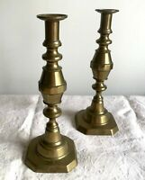 "Pair Tall Antique Brass Candlesticks ""THE 1901"" English King Edward VII ~ 11.5"""