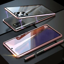 For Samsung Galaxy Note 20 Ultra Metal Magnetic Tempered Glass Case + Lens Cover