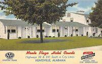 Alabama AL Postcard Linen Roadside HUNTSVILLE Monte Plaza Hotel Courts