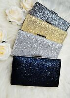 Ladies Womens Glitter Evening clutch bag Sparkly Purse with chain Handbag Party