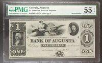 1850s -1860s Bank of Augusta, Georgia $1 Obsolete Bank Note PMG AU 55 EPQ