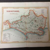 Antique 19th Century Unframed Map Of Dorset #2