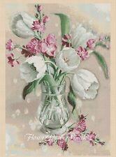 Flores Cuadro De Punto De Cruz Flores-Tulipanes 414 A-flowerpower 37-UK