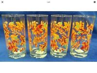 4 Fall/Thanksgiving 16 Oz Water/Ice Tea Glasses/Tumblers, Autumn Leaves & Acorns