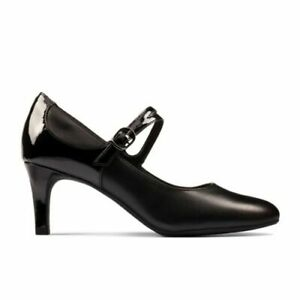 BNIB Clarks Ladies Dancer Reece Black Leather Mary Jane Heeled Shoes