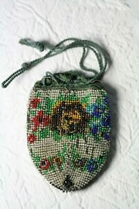 Antique Late 19thC Victorian Micro Glass Beaded Reticule Drawstring Bag Purse
