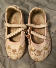 Sapir Size 25 Toddler Mary Janes White With Pink & Yellow Hearts