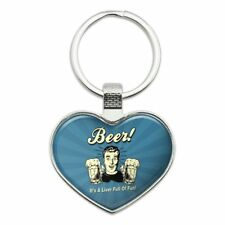 Beer It's a Liver Full of Fun Funny Heart Love Metal Keychain Key Chain Ring