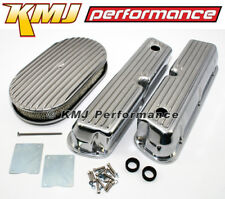Ford 302 5.0L 351W Windsor Finned Polished Aluminum Valve Covers Air Cleaner Kit