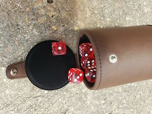Dice Cup Brown Leatherette and 5 Poker Dice With Storage Compartment