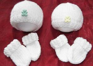 2 X EARLY HAT mitten set 4 baby / reborn / TWINS / BOY GIRL/ lemon & green teddy