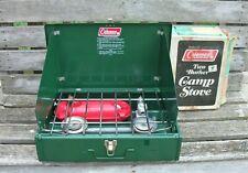 w Vtg 1976 COLEMAN MODEL 425E 2-BURNER CAMP STOVE in BOX