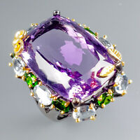 Recommend AA 50ct+ Natural Amethyst 925 Sterling Silver Ring Size 8.5/R116774