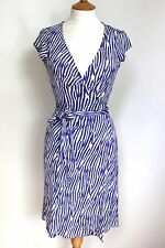 DVF Diane von Furstenberg KYE blue purple striped silk wrap dress us 6 uk 10