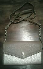 Gold/Brown crossbody purse/Gold chain faux leather strap/compartments inside