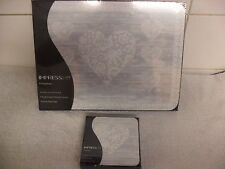 Set of 6 Place Mats and Matching Coasters IMPRESS Grey Lace Hearts