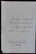 FAIRE PART NAISSANCE MARQUISE DE GAUVILLE 30 NOVEMBRE  1856