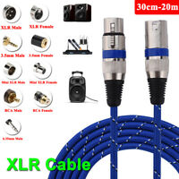 30cm-20M 3.5/6.35mm RCA XLR Male/Female Audio Adapter Cable Microphone Cord Lot
