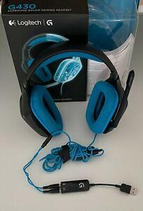 Logitech G430 Schwarz/Blau Kopfbügel Headset für PC. Dolby 7.1 Surround Sound.