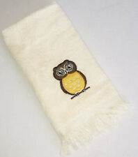 Vintage 1980's Owl Fingertip Towel Cream Brown Fine Fashion Towels Made in USA