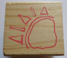 Corner Sunshine Hand Drawn Sketch Child'S Drawing Wooden Rubber Stamp
