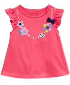 First Impressions Baby Girls' Necklace-Graphic Flutter-Sleeve T-Shirt, Size 3-6M
