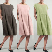 ZANZEA Women Short Sleeve O Neck Shirt Dress Ladies Casual Loose Midi Dresses