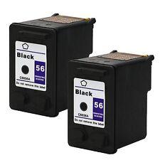 2PKs HP 56 Black Ink Cartridge Officejet 5600 5605 5608 5609 5610 5615 C6656AN