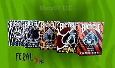 FERAL 5 Pack Bicycle Playing Cards - Rare Snake,Zebra,Tiger,Giraffe,Leopard Deck