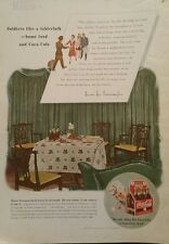 1943 Coca-Cola soda glass bottles carton soldier tablecloth home food ad