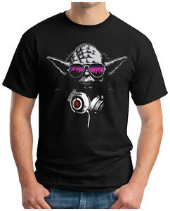 OM3 Herren T-Shirt Dj Yoda Jedi Ritter Turntables Music Stormtrooper Rave House
