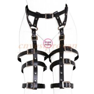 Faux Leather Gothic Waist Thigh Cuffs Body Harness Roleplay Suspenders Bondage