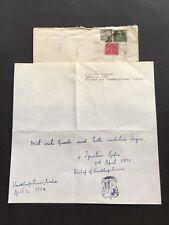IGNATIUS GOPU †1981 Bishop of Visakhapatnam, India signed letter 8x8` + envelope