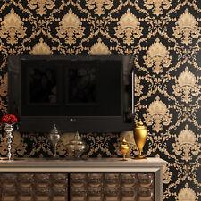 10M 3D Black Gold Vintage Damask Waterproof Embossed Textured PVC Wallpaper Roll
