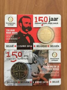 2x2 euro BELGIO 2014 - Coppia Coincard Croce Rossa Entrambe Le Versioni
