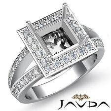 Princess Semi Mount 0.6Ct Diamond Engagement Halo Filigree Ring 18k White Gold